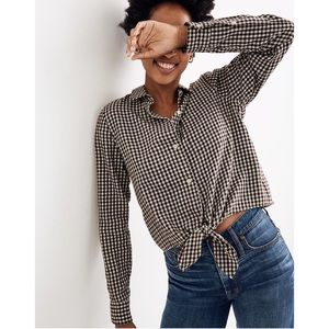 Madewell Flannel Gingham Tie-Front Shirt